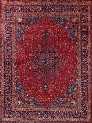 "Great Deal Bright Red Wool 10x13 Mashad Persian Oriental Area Rug 12' 8"" x 9' 6"""