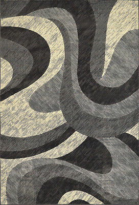 "Modern Abstract Gray 4x6 Area Rug Contemporary Swirl Carpet - Actual 3'3""x5'2"""