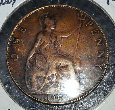 1906 Great Britain  Penny Great Detail, Very Nice