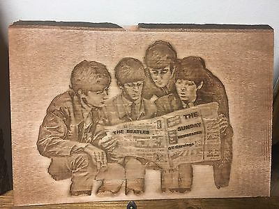 The Beatles Picture Carved Into Solid Wood / Photo / Memorabilia / Collectors