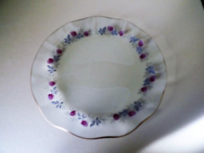 Frilled Clear Glass Plate decorated with Roses