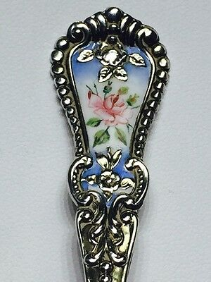 Rose Enamel Sterling Silver Souvenir Spoon Virginia