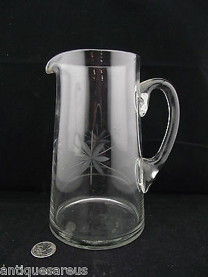 "Clear Glass Lemonaid  Pitcher With Etching 7 3/4"" Large Flat Bottom Nice Taper"