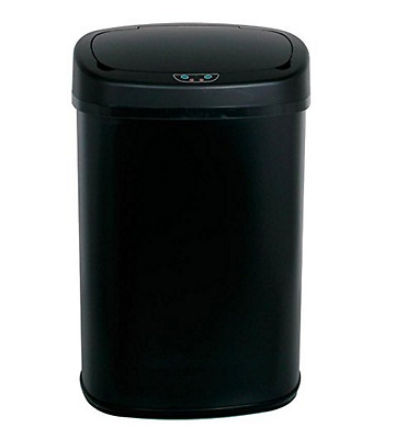 Black Steel Touch Free Sensor Automatic Trash Can Kitchen Office Garbage Bin