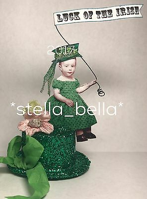 St Patricks Day Fairy Altered Art vtg Ooak Collage Handcrafted Mixed Media
