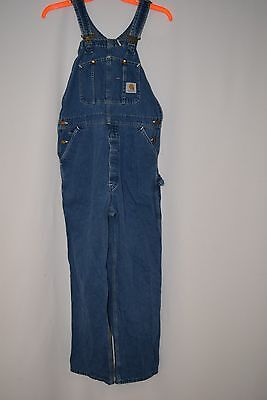 Carhartt denim overalls men's blue bibs Size M