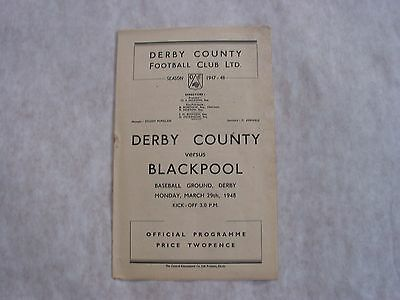Derby County v Blackpool Football Programme 1947-8