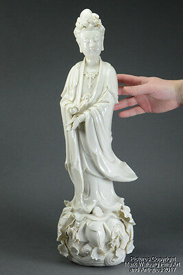 LARGE Chinese Dehua Blanc de Chine Porcelain Figure of Guanyin, 19th Century