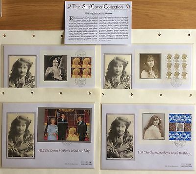 GB Queen Mothers 100th Birthday Collection On 4 Silk Limited Edition Covers