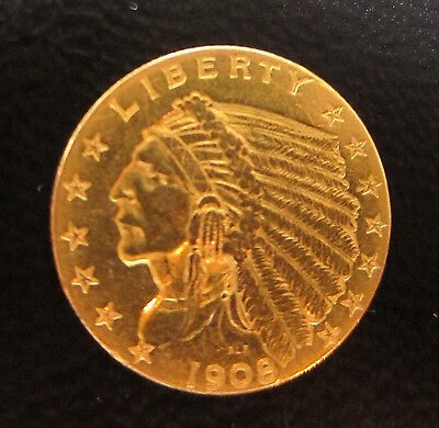 1908 $2.50 $2.5 2 & 1/2 Dollar Gold Indian Liberty Head Coin Quarter Eagle