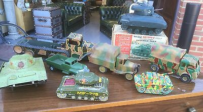 Early Collection Of Tinplate Military Tanks & Lorries. Open To Offers.
