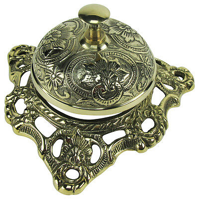 Solid Brass Hotel Counter Desk Bell Antique Style Ring For Service Ding Bells