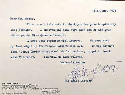 Sir Emile Littler Theatre Impresario / Author  Hand Signed Letter / Card Jesus C