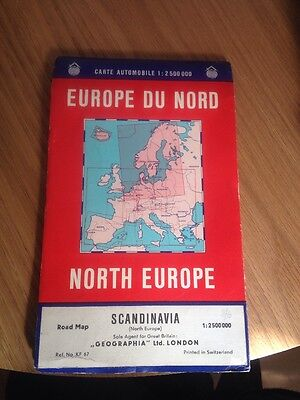 North Europe Road Map   Vintage 80's