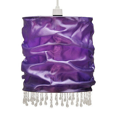 Modern Purple Pleated Silk Effect Beaded Ceiling Pendant Light Shade Lampshade