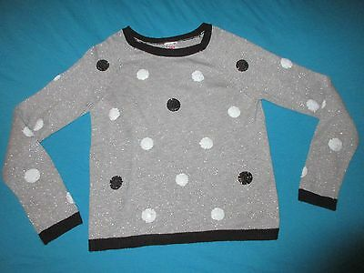 JUSTICE Girls Long Sleeve Gray Polka Dot Sweater Size 20