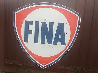 ORIGINAL VIinTaGE PORCELAIN 6x6 FINA SIGN Gas Oil Service Station Pole SSP