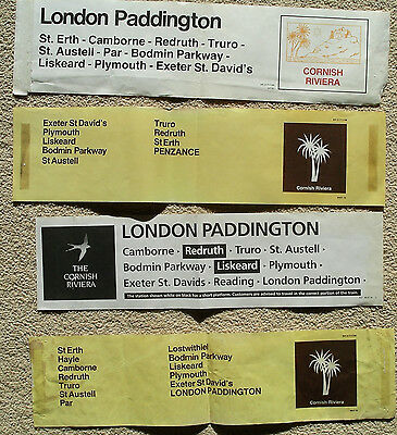 Cornish Riviera railway carriage labels 4 different ( folded)