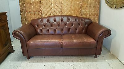 Vintage Chesterfield Style Brown Two Seater Leather Sofa  *couriers Available*