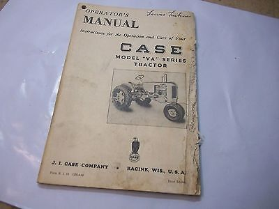 1941 Case VA Series  Tractor Owner's  Manual