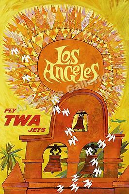 "TWA 1960s ""Los Angeles"" Vintage Style Airline Travel Poster - 24x36"