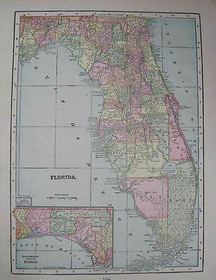 1899 Florida Original Color Atlas Map** with Railroads .....118 Years-old!