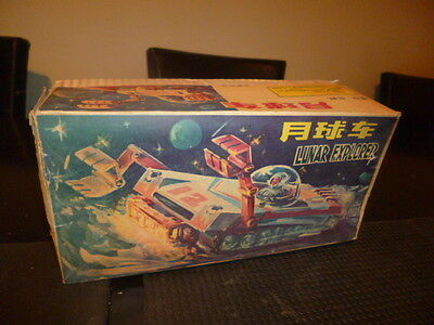 AMAZING SPACE LUNAR EXPLORER TIN BATTERY OPERATED LITHO BOX RED CHINA 60s NEW