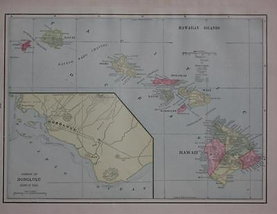 1899 Hawaiian Islands Color Atlas Map** with Area & Population .. 118 years-old!