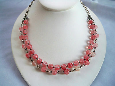 Vintage Pink Stone Bead & Chain 2 Strand Necklace