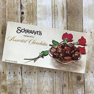 VINTAGE SCHRAFFT'S CHOCOLATES CANDY BOX EMPTY Large Valentines Roses Advertising