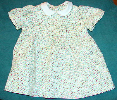 VINTAGE Little Girl's Dress - Tiny flowers with white Peter  Pan collar