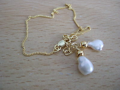 """Gold Plated Sterling Silver 6.75"""" to 8"""" Bracelet with Keshi Pearl Charms"""