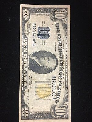 1934A $10 North Africa Silver Certificate Yellow Seal