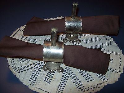 Unique Silver Napkin Rings Holders Place Settings - Set of 2