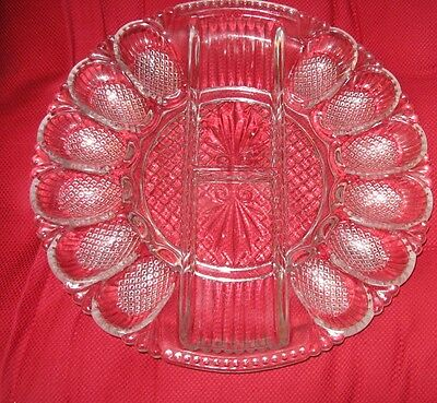 L.E.Smith Heritage Pattern Clear Glass Deviled Egg & Relish Tray