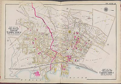 1911 WESTCHESTER HASTINGS NY CROTON AQUEDUCT G.W BROMLEY COPY ATLAS MAP