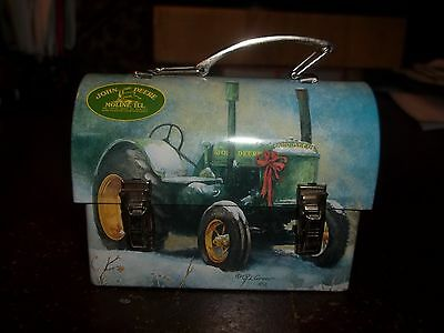 """John Deere Rounded Lunch Box Tin - About H 2 3/8"""" X W 3 3/8"""""""