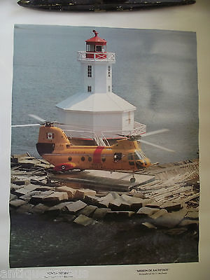 Rescue Mission Poster L Balzak Canadian Forces Helicopter W Lighthouse