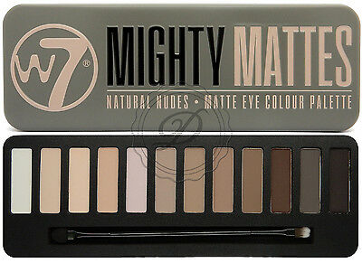 W7 Mighty Mattes Eyeshadow Palette - 12 Colours Browns Nude Smokey Primer Blend