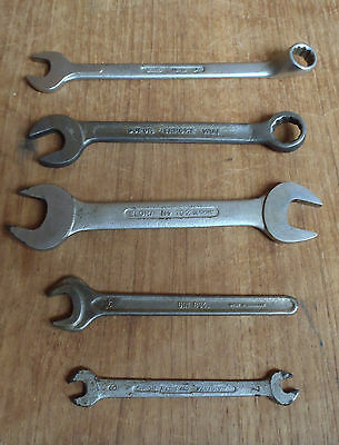 6 X VINTAGE COMBINATION SPANNERS - GERMAN inc ELORA, GEDORE, DUFOR etc - TOOLS