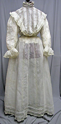#1726, Lovely 1900 Gibson Girl Ensemble of Embroidery & Insertion Lace