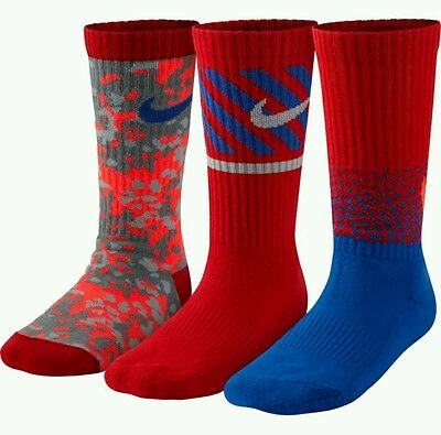 New 3 Pack Nike Athletic Crew Youth Boy's Socks. Sz 13C-3Y Camo Red Blue