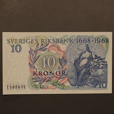 """Sweden 10 Kronor 1968 """"300yrs"""" Banknote Uncirculated"""