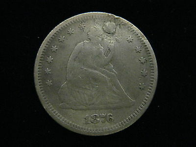 1876 S U.s. Seated Liberty Quarter 25 Cent Coin