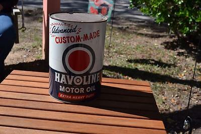"""5 Qt Havoline Motor Oil By """"the Texas Company""""  Gas, Globe, Pump, Sign"""