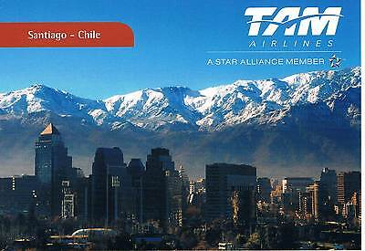 Postcard Chile Chili Santiago capital TAM Airlines Airways airline card Karte AK