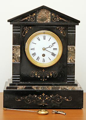French Black Slate & Marble Mantle Clock 1880 Matching Serial Numbers
