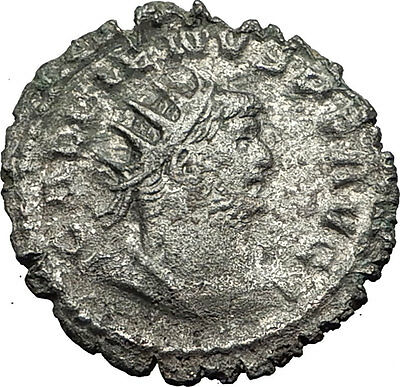 GALLIENUS 253AD Billon Silver Authentic Rare Ancient Roman Coin Virtus i59392