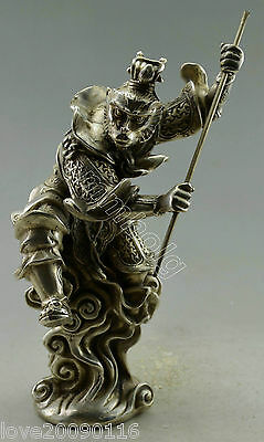 Collectible Decorated Old Handwork Silver Plate Copper Carved Monkey King Statue