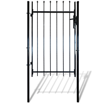 S# Single Door Fence Gate with Spear Top 100 x 120 cm Garden Backyard Privacy